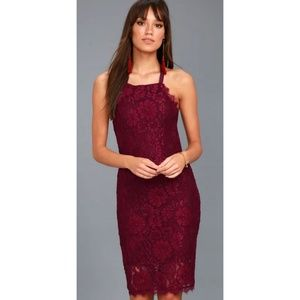 Lulus Wishful Wanderings Burgundy Lace Dress - M